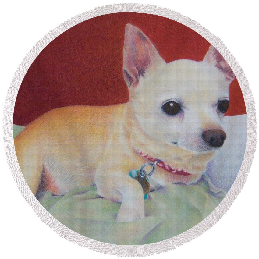 Dog Round Beach Towel featuring the painting Small Package by Pamela Clements