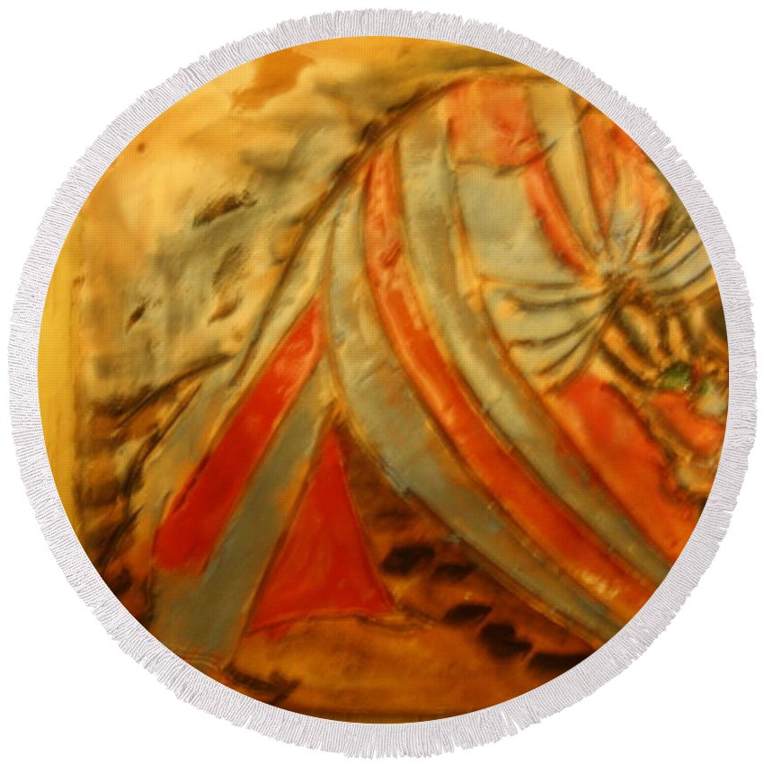 Jesus Round Beach Towel featuring the ceramic art Small Sips - Tile by Gloria Ssali