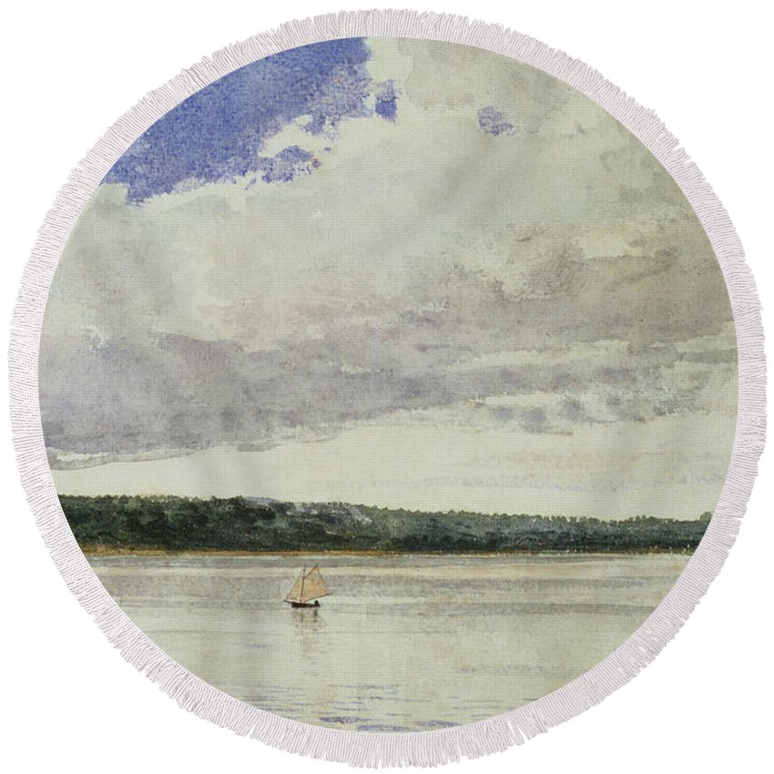 Small Sloop On Saco Bay (w/c On Paper)seascape; Vessel; Boat; Sea; Maine; New England Region; Solitary; Boat Round Beach Towel featuring the painting Small Sloop On Saco Bay by Winslow Homer