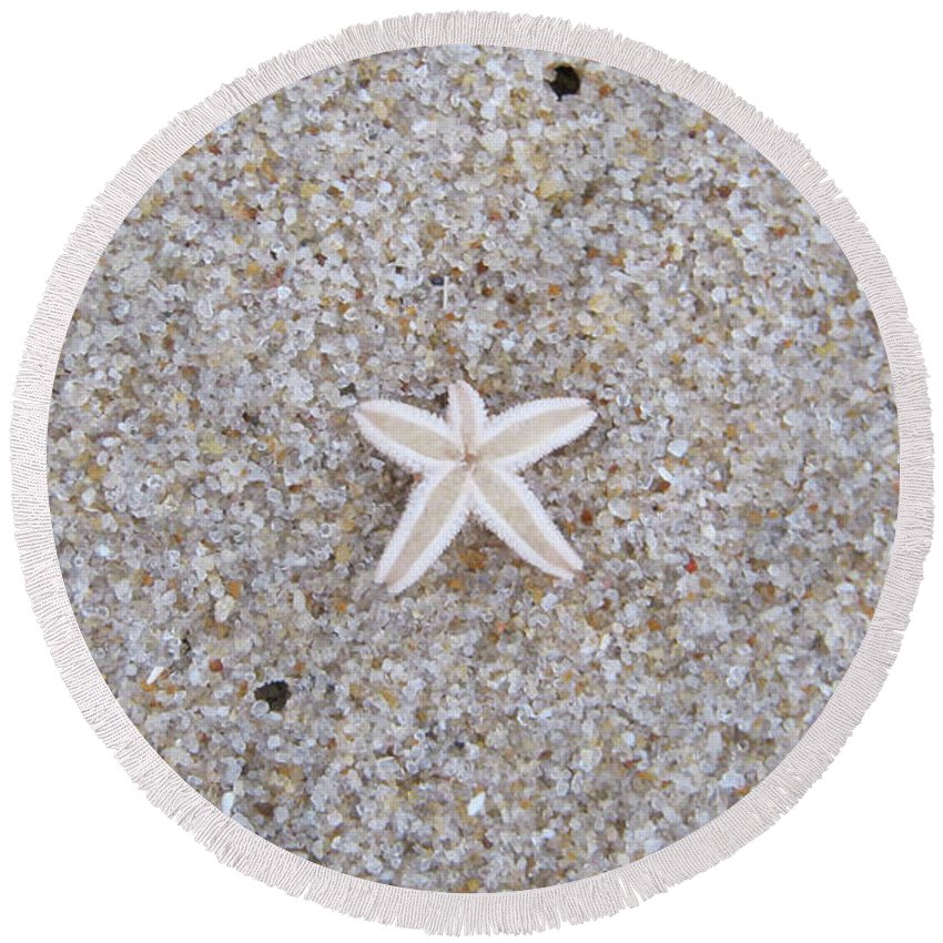 Sylt Round Beach Towel featuring the photograph Small Star Fish by Heidi Sieber