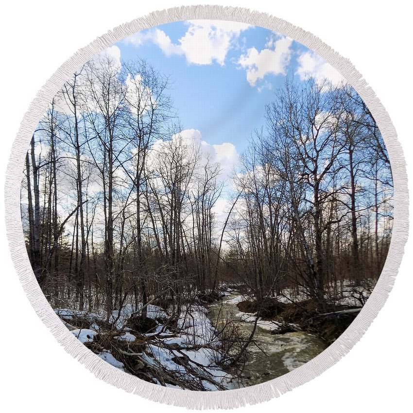 Stream Round Beach Towel featuring the photograph Small Stream In Spring by William Tasker