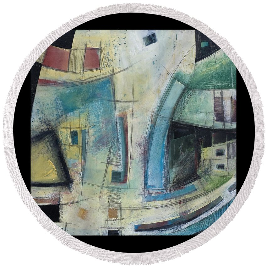 Abstract Round Beach Towel featuring the painting Small Town Blues by Tim Nyberg