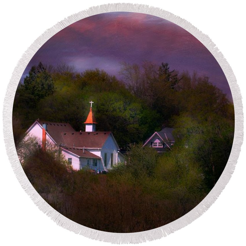 Round Beach Towel featuring the photograph Small Town Church by Kim Blaylock