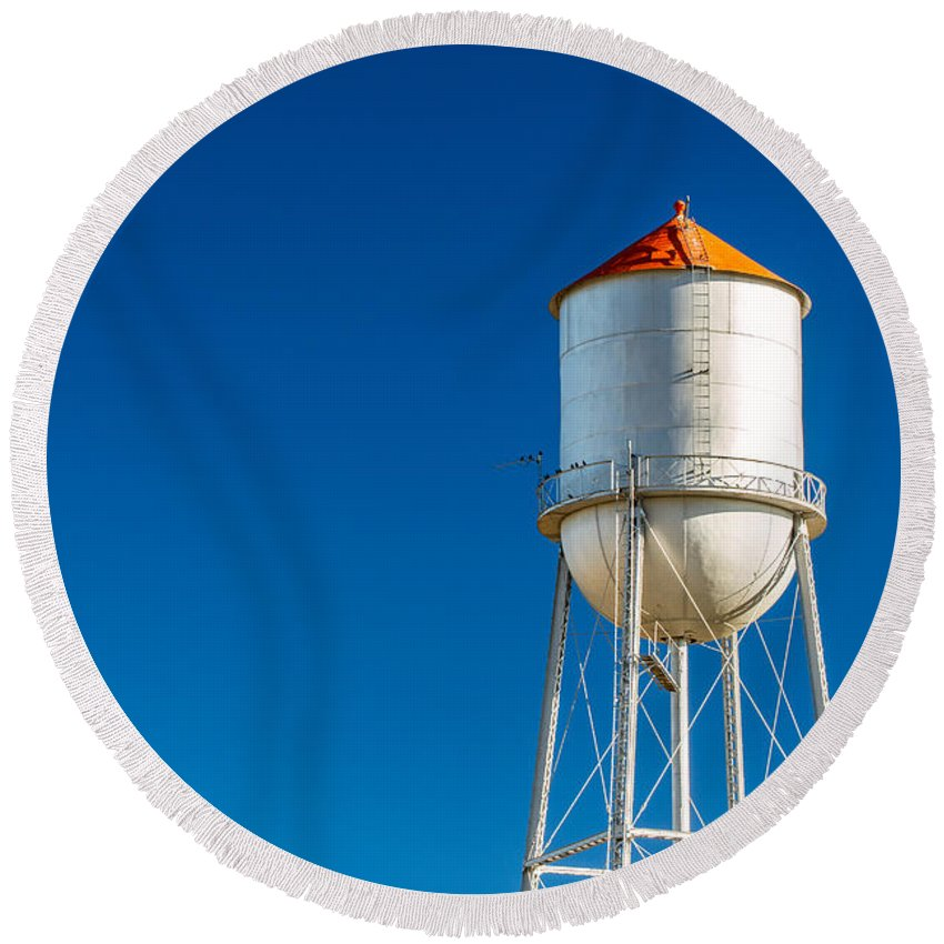 Water Tower Round Beach Towel featuring the photograph Small Town Water Tower by Todd Klassy
