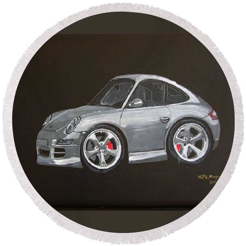 Car Round Beach Towel featuring the painting Smart Porsche by Richard Le Page