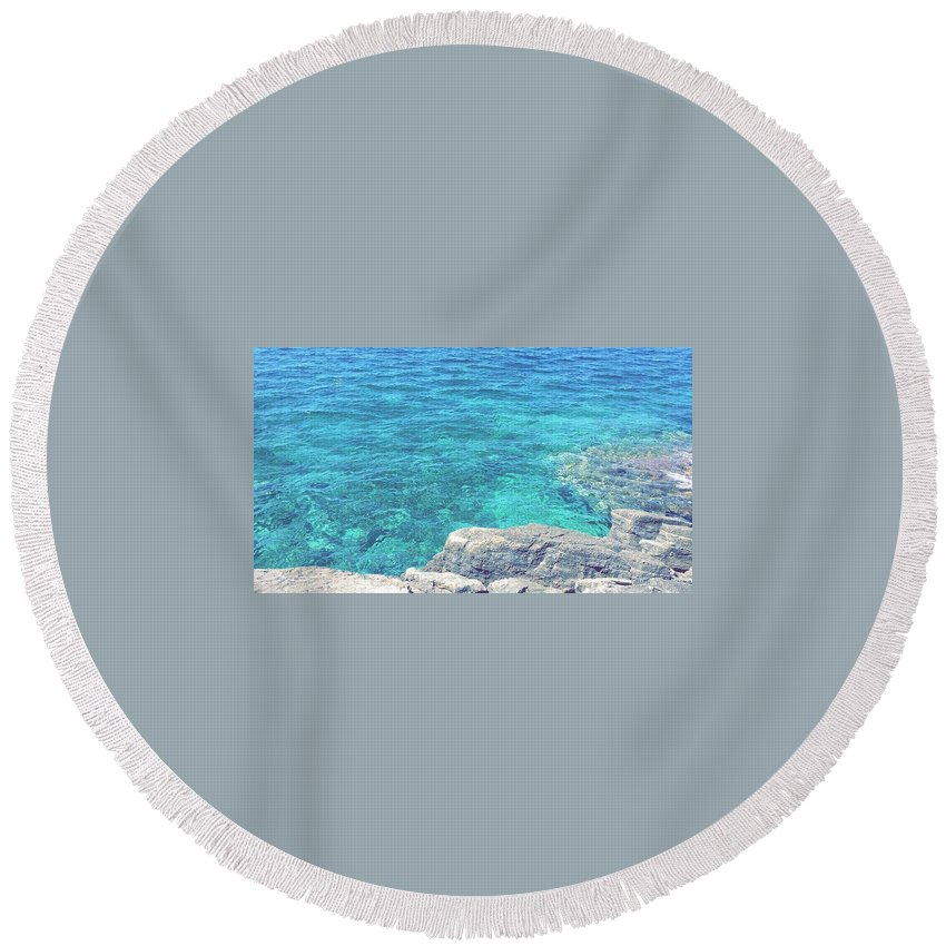 Landscape Round Beach Towel featuring the pyrography Smdl by Laura Pia Giovanna Morocutti