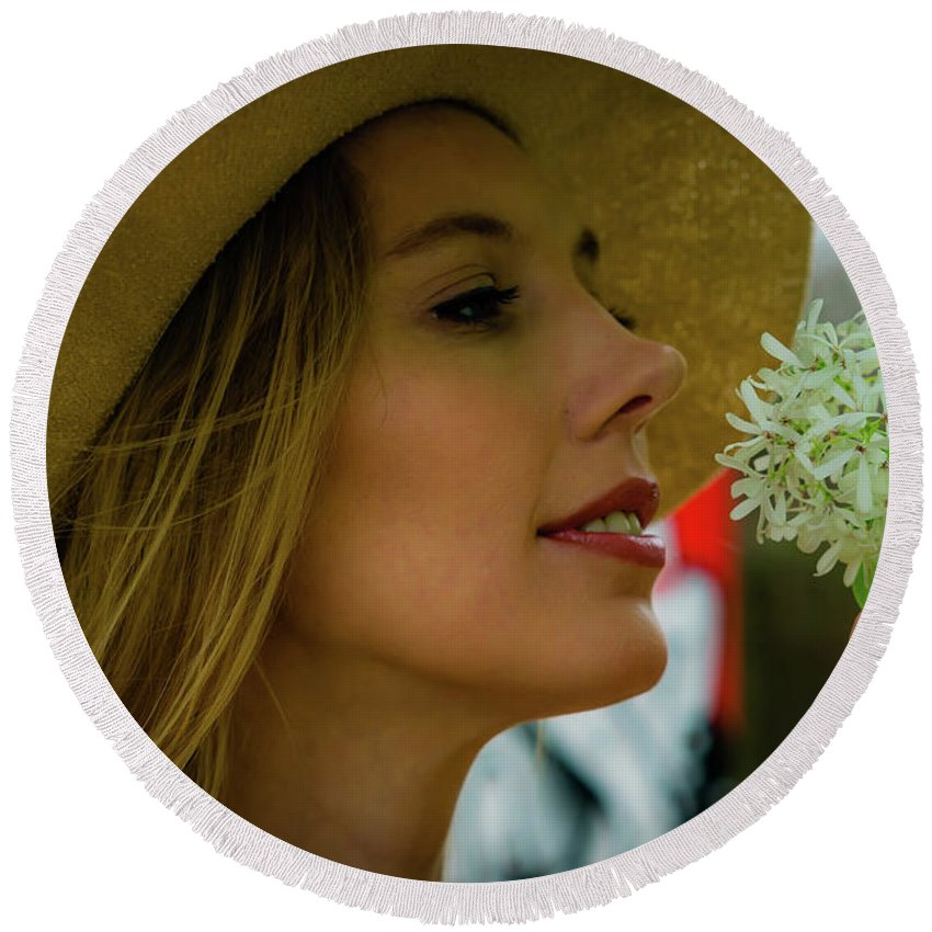 Female Round Beach Towel featuring the photograph Smell The Flowers by JB Thomas