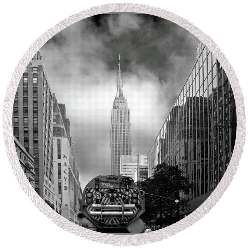 New York Round Beach Towel featuring the photograph Smell The Roses by Guy Ciarcia