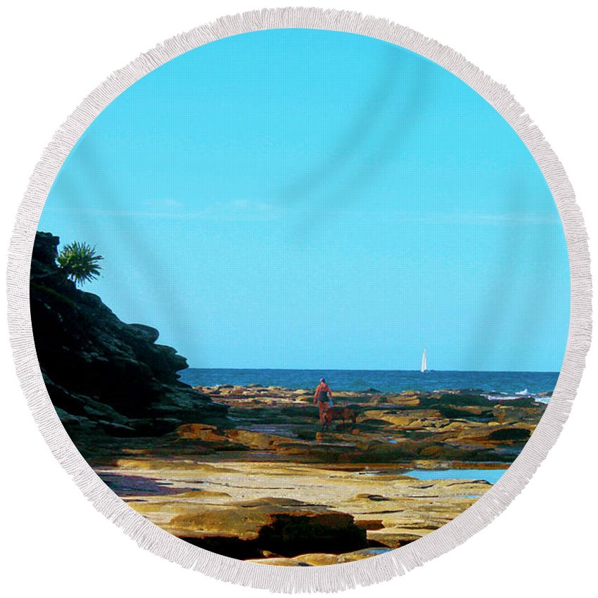 Susan Vineyard Round Beach Towel featuring the photograph Smell The Sea And Feel The Sky by Susan Vineyard