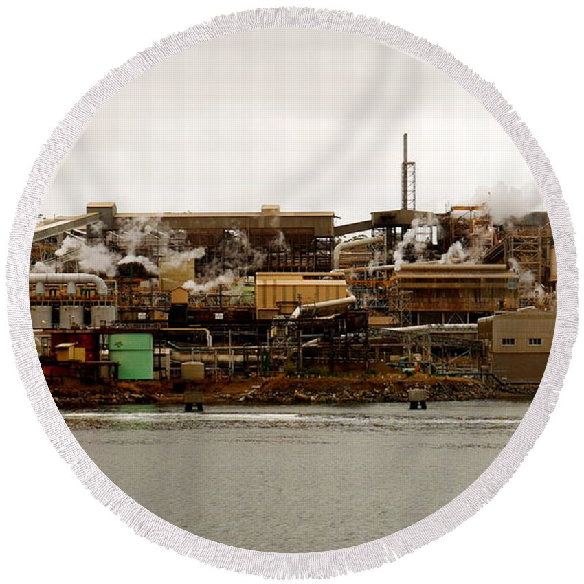 Hobart Round Beach Towel featuring the photograph Smelter Works by Lexa Harpell