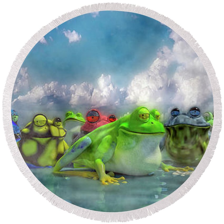 Frog Round Beach Towel featuring the digital art Smile And Be Happy by Betsy Knapp