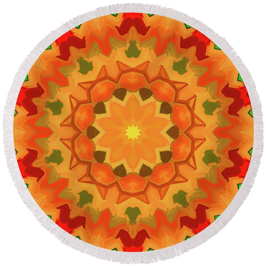 Mandala Art Round Beach Towel featuring the painting Smile by Jeelan Clark