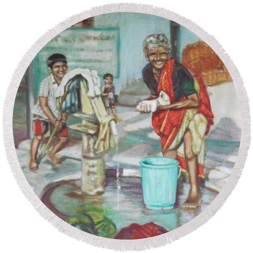 Usha Round Beach Towel featuring the painting Smile Plz by Usha Shantharam