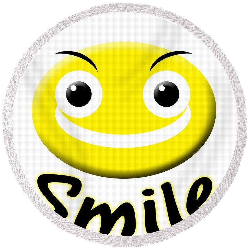 Smile T-shirt Round Beach Towel featuring the digital art Smile T-shirt by Isam Awad