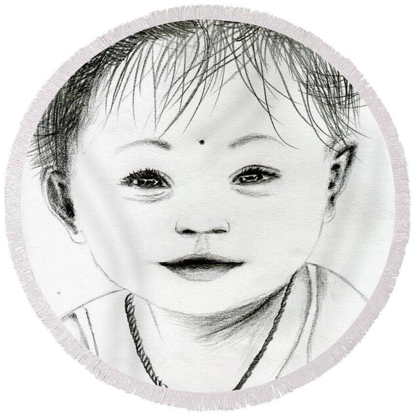 Baby Round Beach Towel featuring the drawing Smiling Child by Karthikeyan Balasubramanian