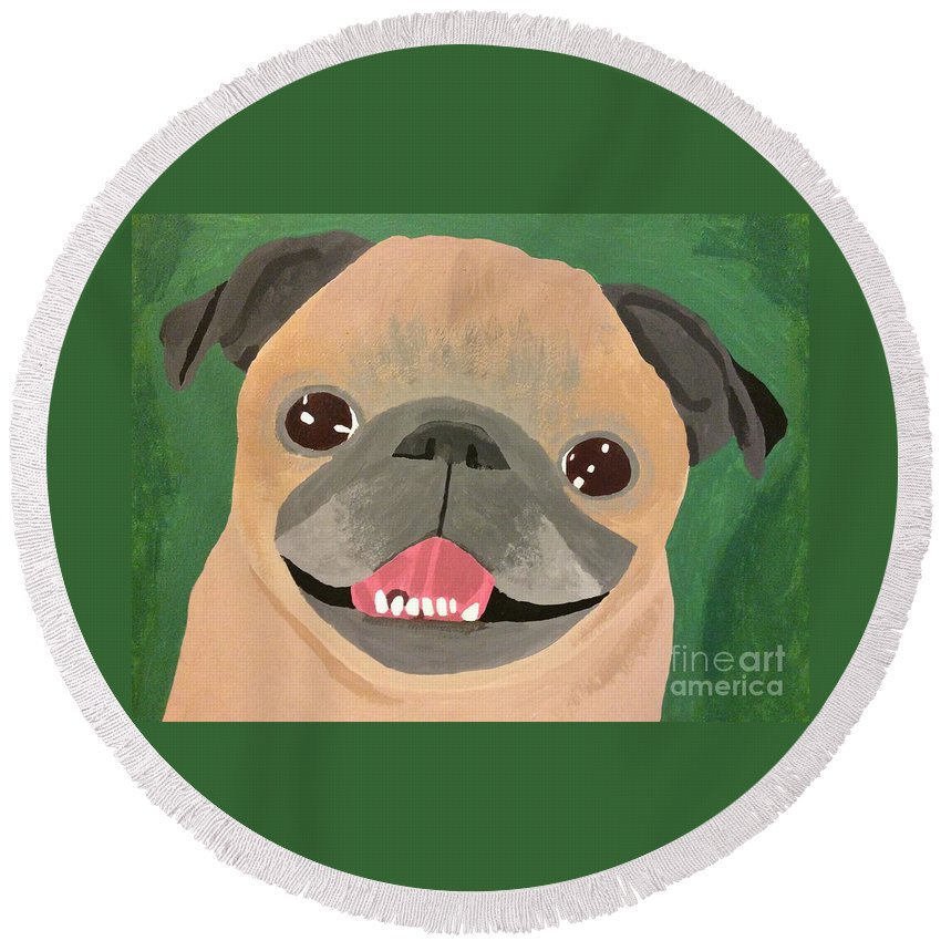 Round Beach Towel featuring the painting Smiling Senior Pug by Purely Pugs Design