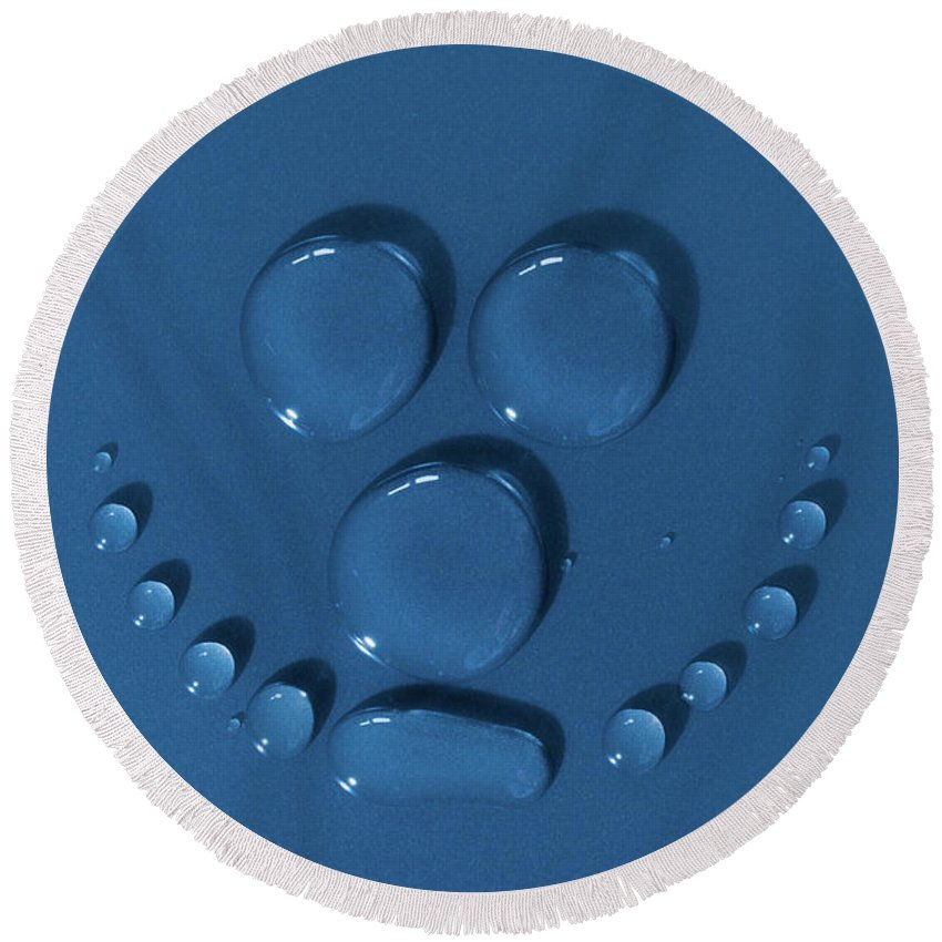 Face Round Beach Towel featuring the photograph Smily Face Made Of Water Drops by Simon Bratt Photography LRPS