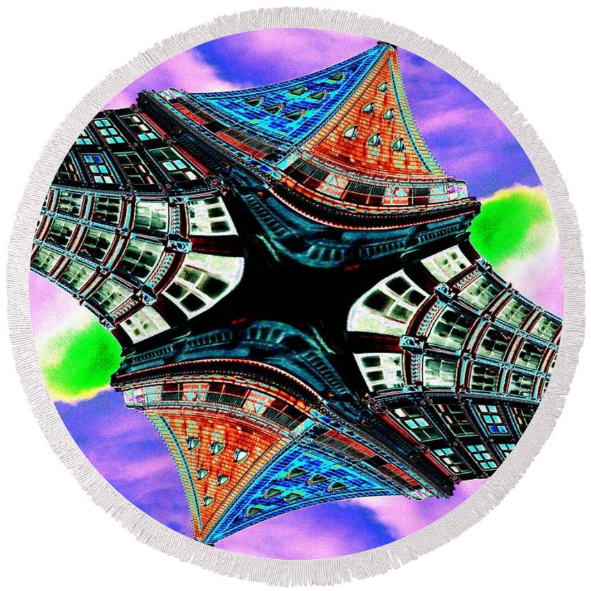 Seattle Round Beach Towel featuring the digital art Smith Tower Fractal by Tim Allen