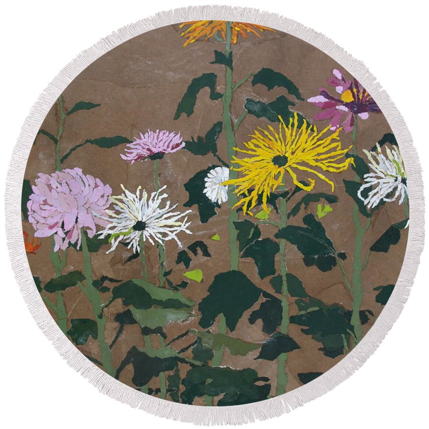 Collage Round Beach Towel featuring the painting Smith's Giant Chrysanthemums by Leah Tomaino