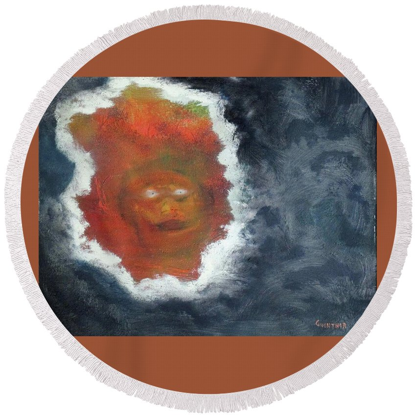 Demon Round Beach Towel featuring the painting Smoke And Mirros by Larry Guenther