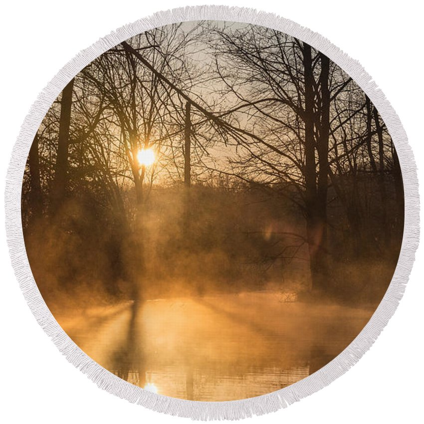 New Jersey Round Beach Towel featuring the photograph Smoke On The Water by Kristopher Schoenleber
