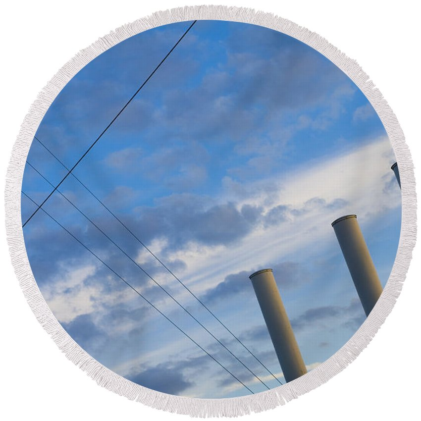 Blue Round Beach Towel featuring the photograph Smoke Stax by Skip Hunt