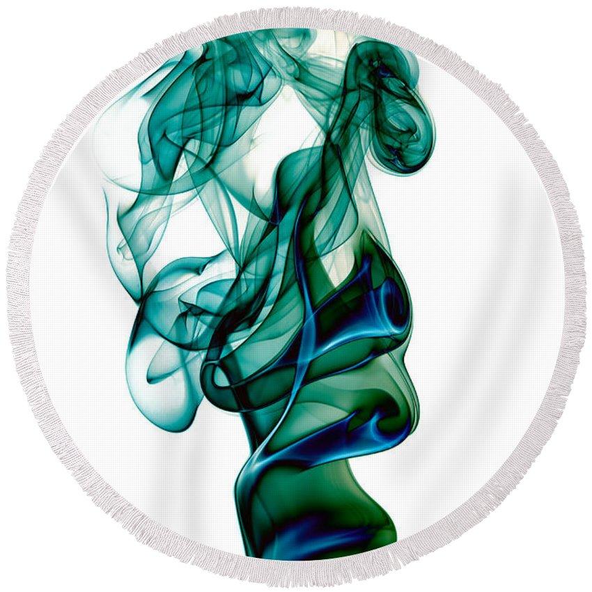 Abstract Round Beach Towel featuring the photograph smoke XXIII by Joerg Lingnau