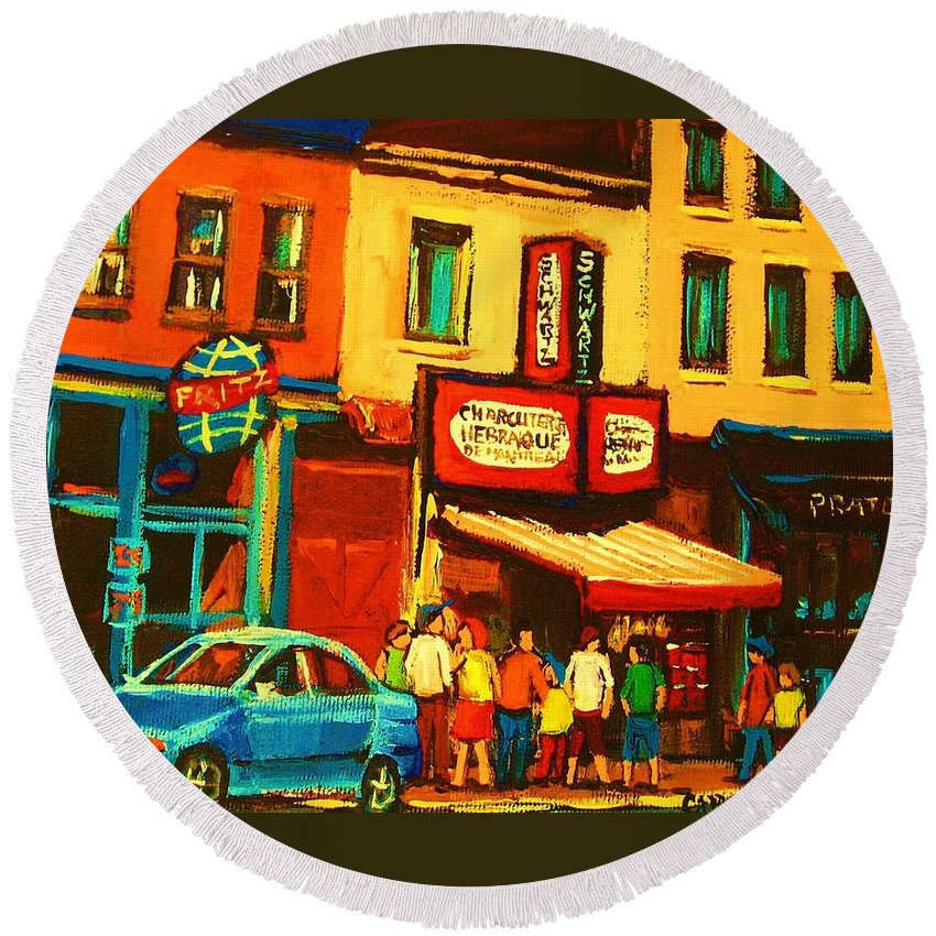 Montreal Smoked Meat Restaurants City Scenes Round Beach Towel featuring the painting Smoked Meat Sandwiches Await by Carole Spandau
