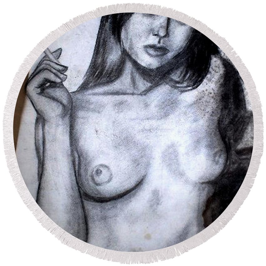 Nude Round Beach Towel featuring the drawing Smoker by Thomas Valentine