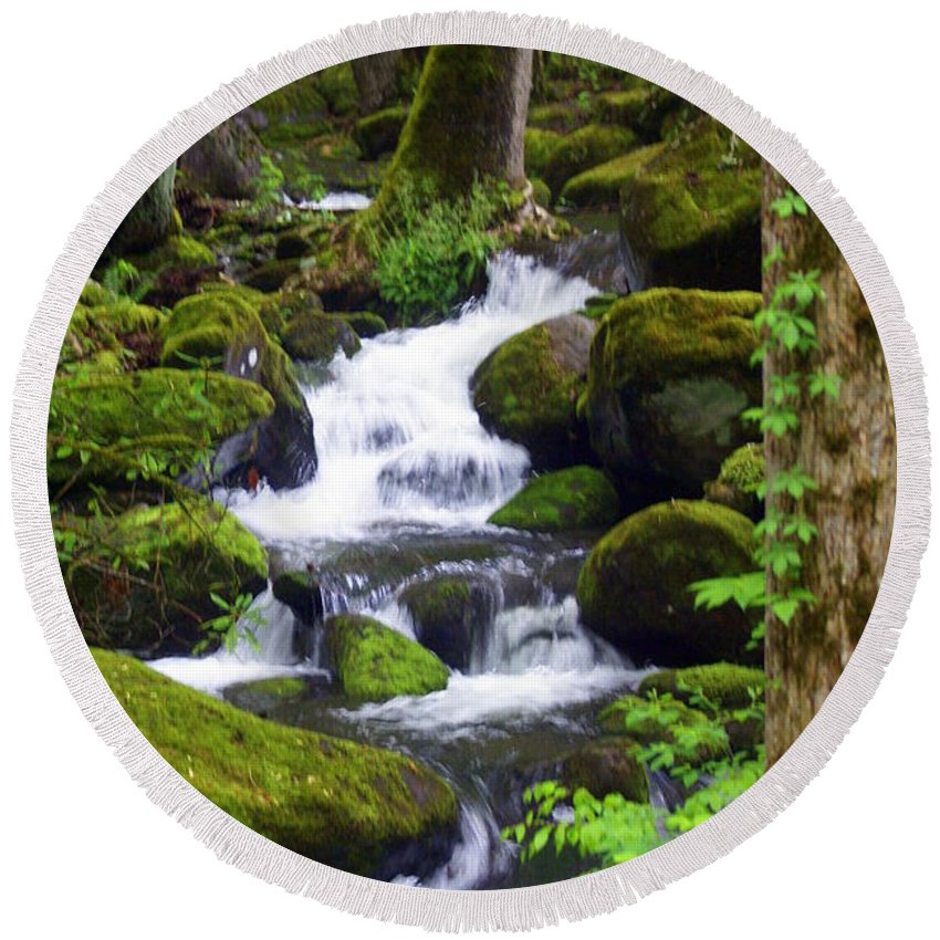 Great Smokey Mountains National Park Round Beach Towel featuring the photograph Smokey Mountain Stream by Marty Koch