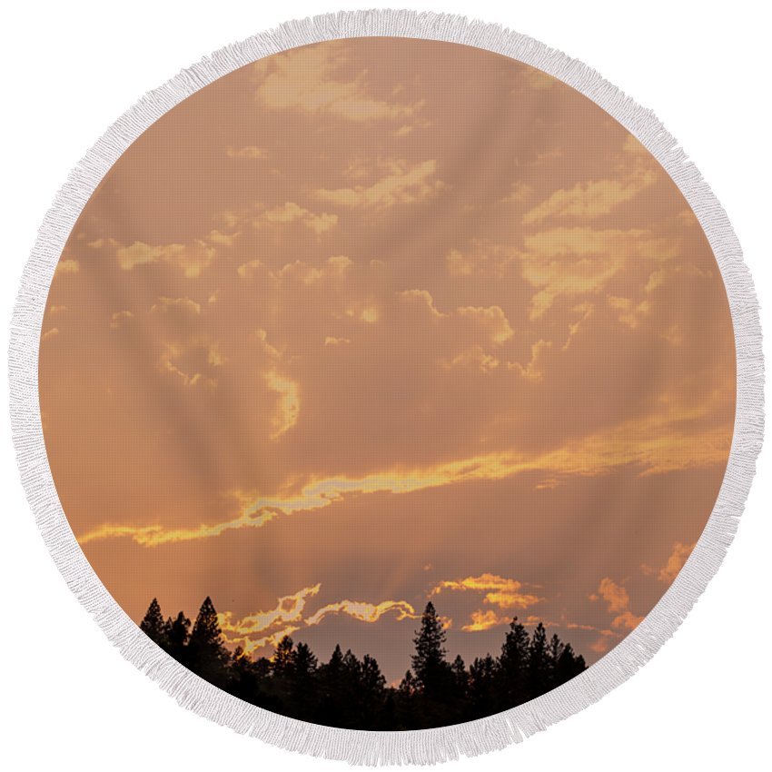 Moon Round Beach Towel featuring the photograph Smokey Skies Sunset by Melanie Lankford Photography