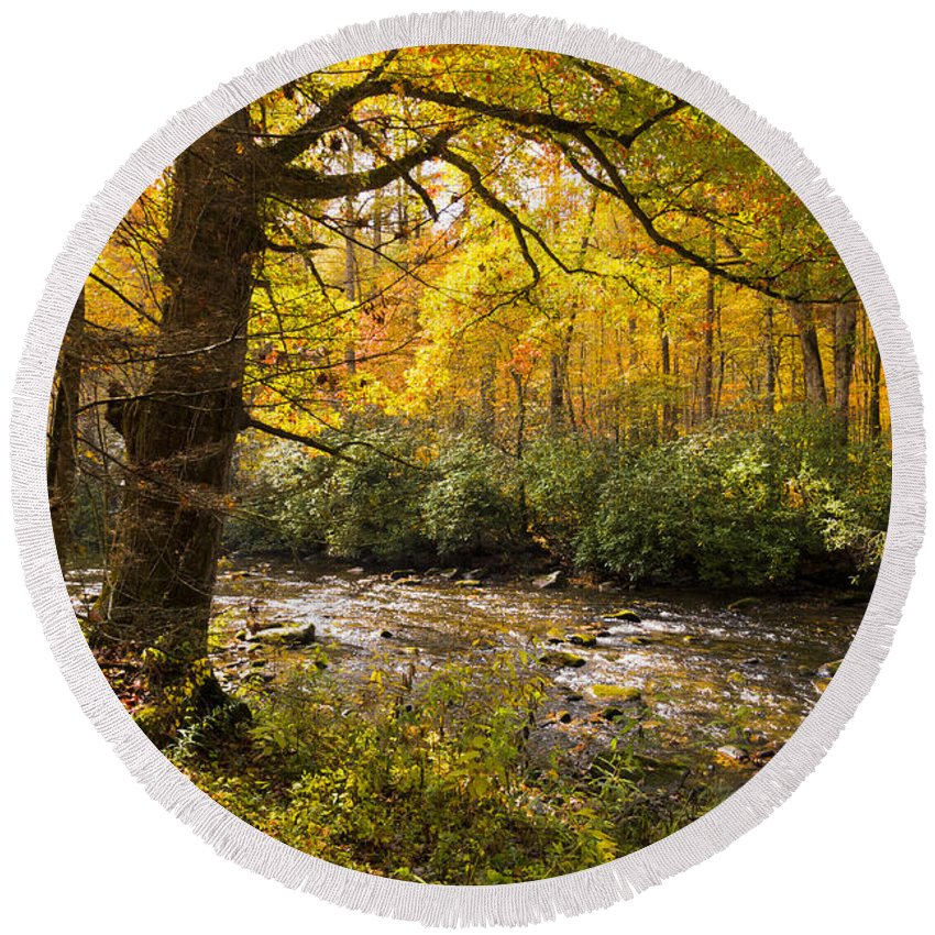 Appalachia Round Beach Towel featuring the photograph Smoky Autumn by Debra and Dave Vanderlaan