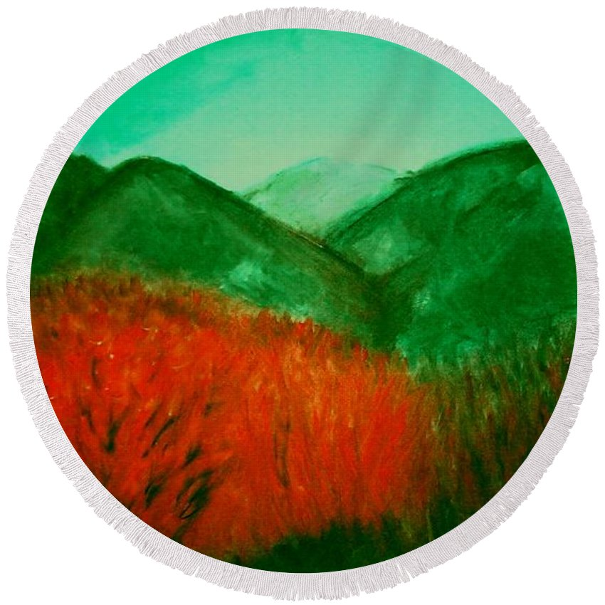 Mountains Round Beach Towel featuring the pastel Smoky by Melvin Moon