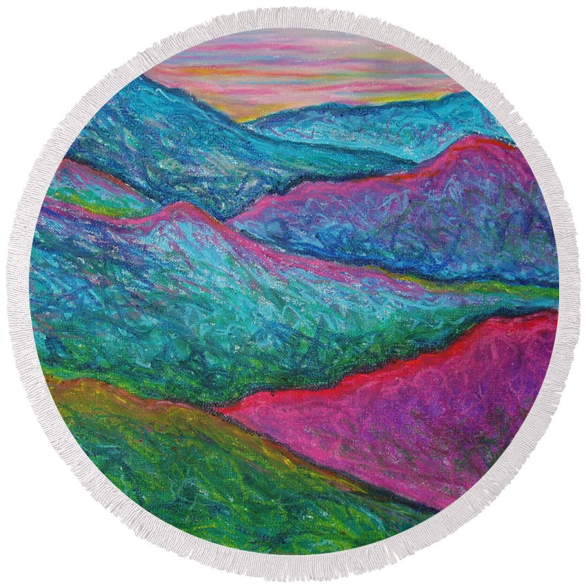 Oil Pastels Round Beach Towel featuring the painting Smoky Mountain Abstract by Nancy Mueller
