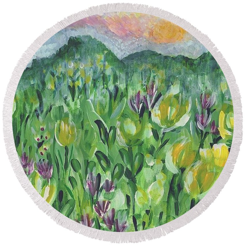 Mountains Round Beach Towel featuring the painting Smoky Mountain Dreamin by Holly Carmichael