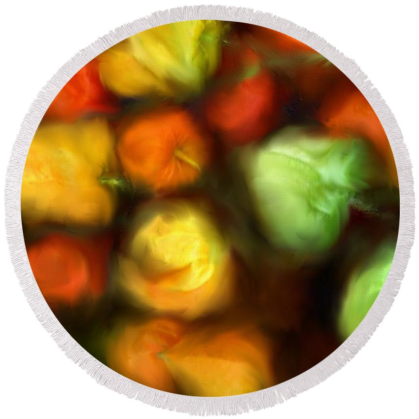 Peppers Round Beach Towel featuring the photograph Smooth Peppers by Ian MacDonald