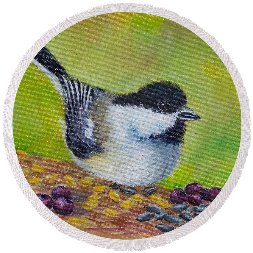 Bird Round Beach Towel featuring the painting Smorgasbord by Dee Carpenter