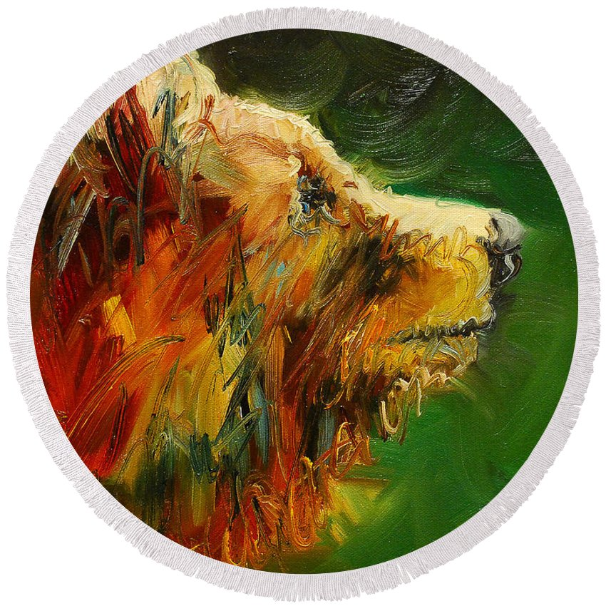 Bear Round Beach Towel featuring the painting Sniffing For Food Bear by Diane Whitehead
