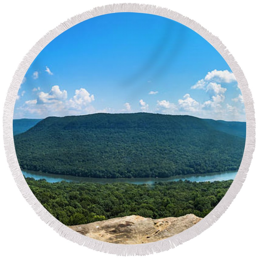 Nature Round Beach Towel featuring the photograph Snooper's Rock Overlook by Van Sutherland