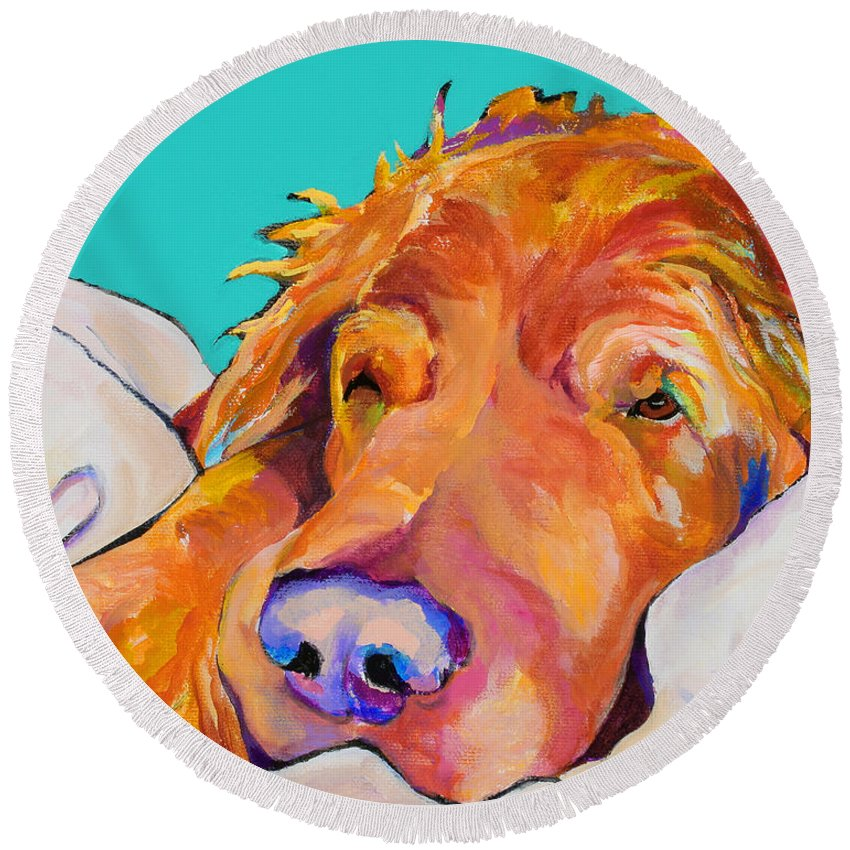 Dog Poortraits Round Beach Towel featuring the painting Snoozer King by Pat Saunders-White