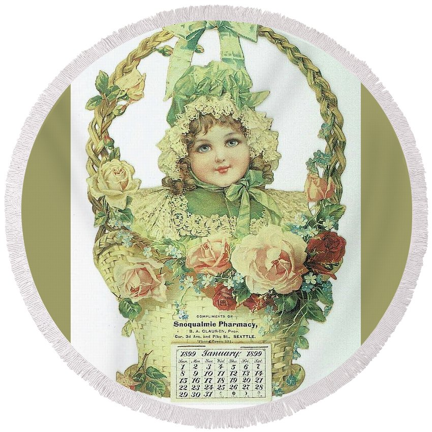 Frances Brundage Round Beach Towel featuring the painting Snoqualmie Calendar by Reynold Jay