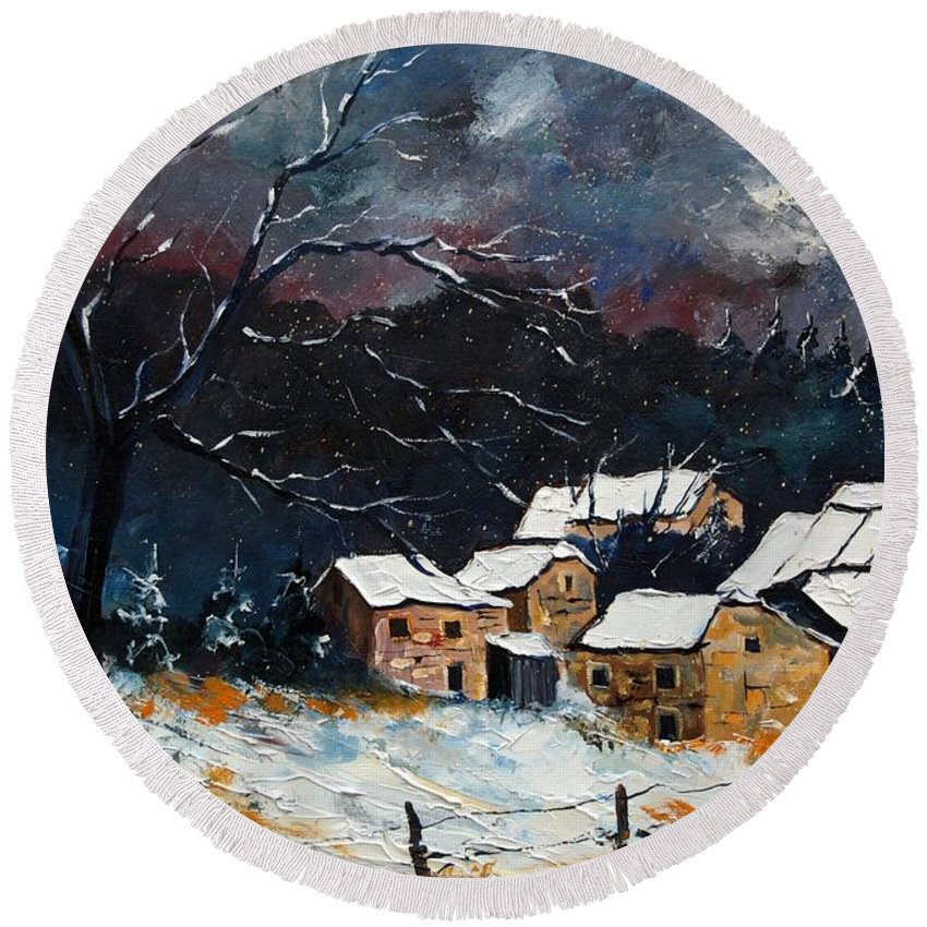 Snow Round Beach Towel featuring the painting Snow 57 by Pol Ledent