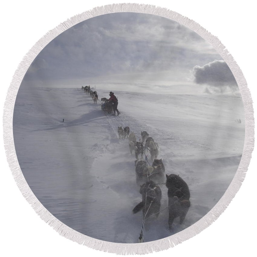 Landscape Round Beach Towel featuring the photograph Snow And Clouds by Sarah Bevard