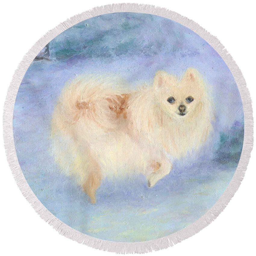 Dog Round Beach Towel featuring the painting Snow Angel by Paula Emery