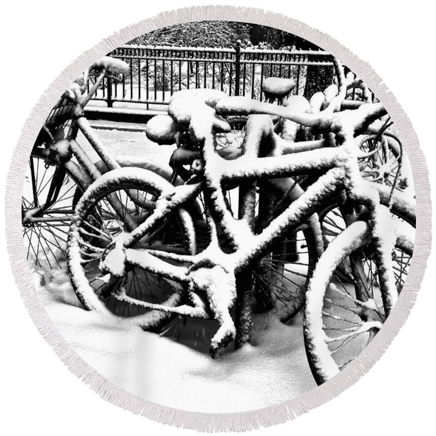 Snow Scene Round Beach Towel featuring the photograph Snow Bicycles by Debra Banks