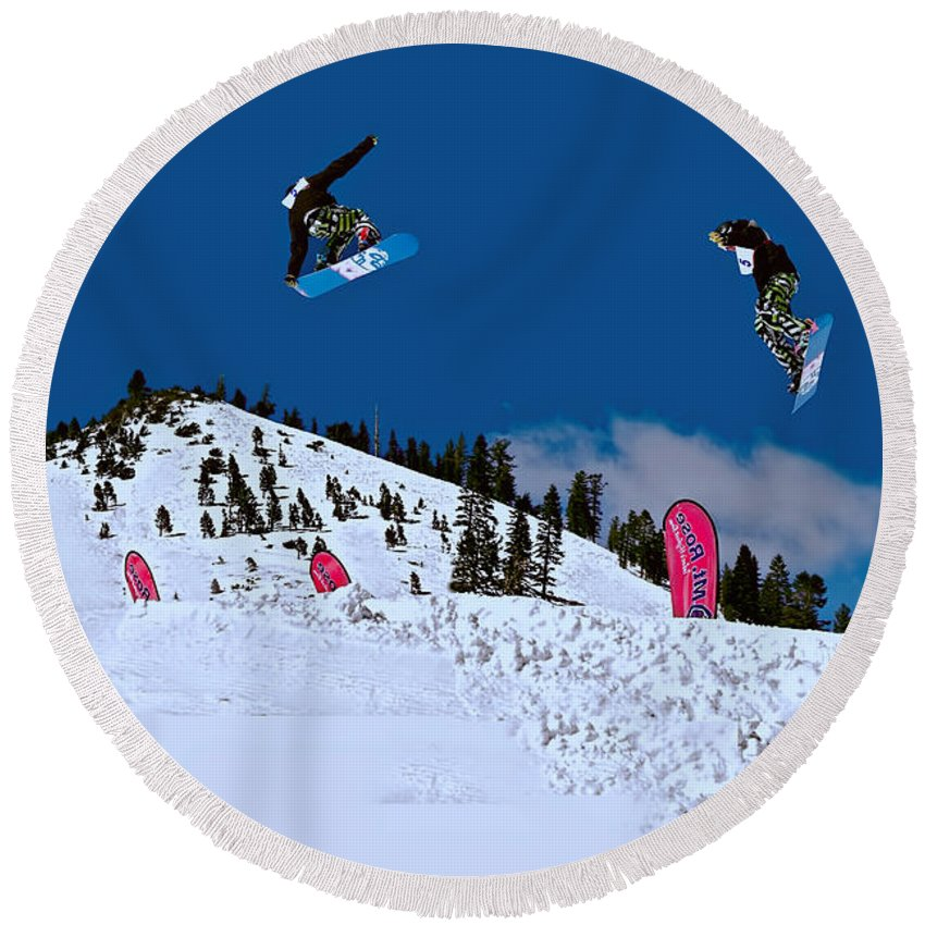 Activity Round Beach Towel featuring the photograph Snow Boarder by Maria Coulson
