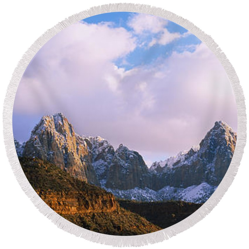 Photography Round Beach Towel featuring the photograph Snow Covered Mountain Range, The by Panoramic Images