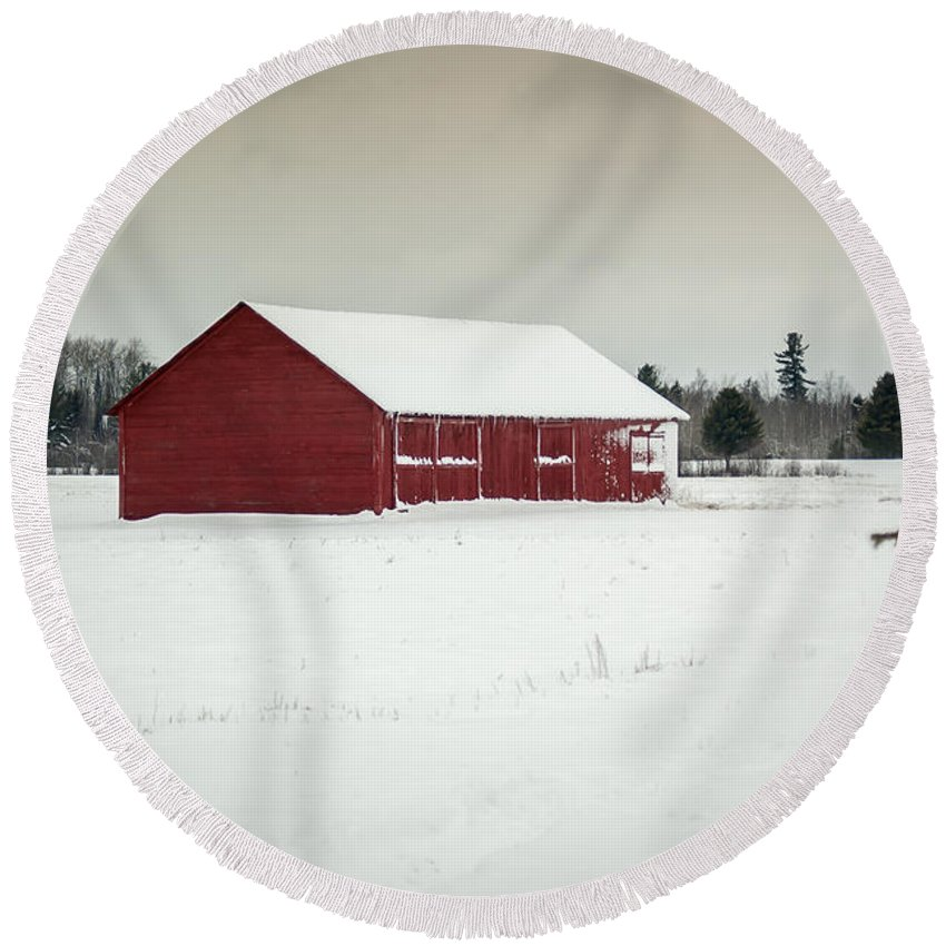 Snow Round Beach Towel featuring the photograph Snow Covered Red Barn by Patrick Shupert