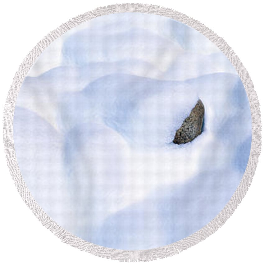 Photography Round Beach Towel featuring the photograph Snow-covered Rocks In Yosemite by Panoramic Images