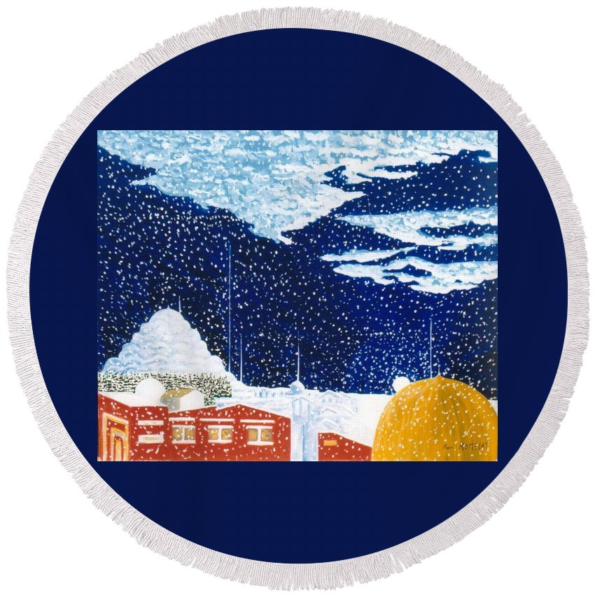 Snow Falling On Istanbul Round Beach Towel featuring the painting snow falling on Istanbul by Marie Momelat